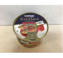 Килька Главпродукт балтийская неразделанная в томатном соусе, 240 грамм
